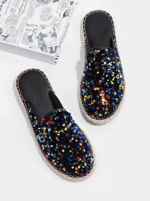 Sandalias Planas de Color Bloque con Lentejuelas - Azul de Pizarra Oscuro EU 40 Mobile