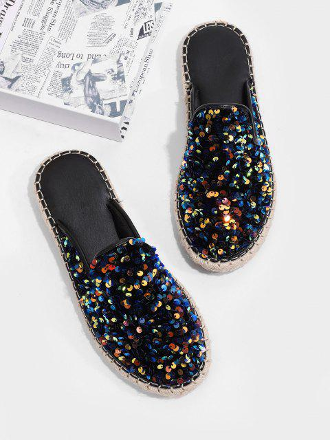ladies Sequins Flat Outdoor Slippers - DARK SLATE BLUE EU 40 Mobile