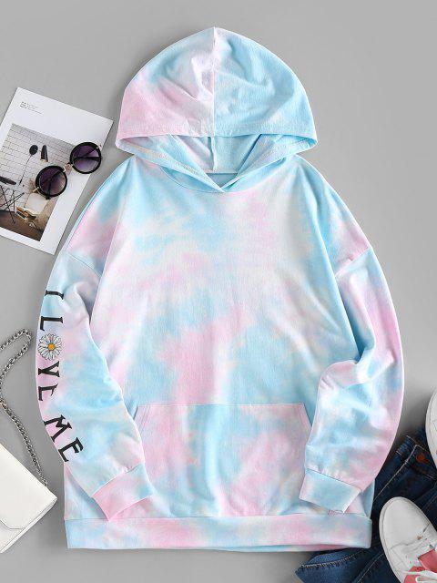 ZAFUL Tie Dye Daisy Drop Shoulder Pocket Hoodie - متعددة-B M Mobile