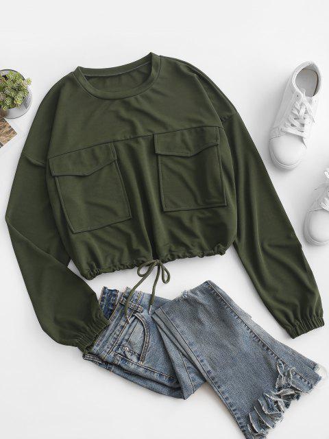 Sudadera Suelta Diseño Carga y Bolsillos - Verde Oscuro XL Mobile