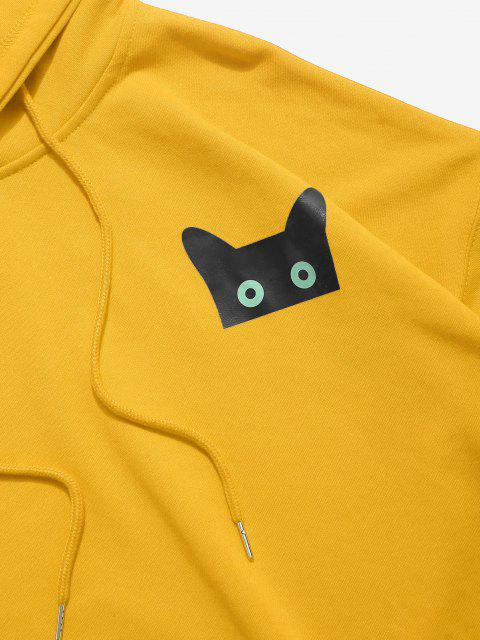 latest Cartoon Cat Graphic Pouch Pocket Drawstring Hoodie - YELLOW 2XL Mobile