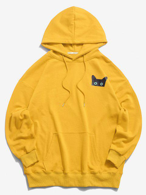outfits Cartoon Cat Graphic Pouch Pocket Drawstring Hoodie - YELLOW L Mobile