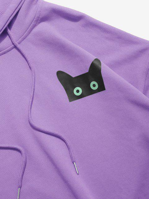 Sweat à Capuche Graphique Motif Chat Dessin Animé à Cordon - Pourpre  3XL Mobile