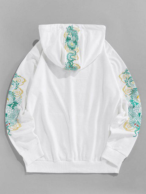 outfit ZAFUL Kangaroo Pocket Dragon Embroidered Oriental Hoodie - WHITE M Mobile