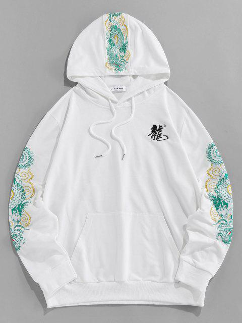 shop ZAFUL Kangaroo Pocket Dragon Embroidered Oriental Hoodie - WHITE XL Mobile