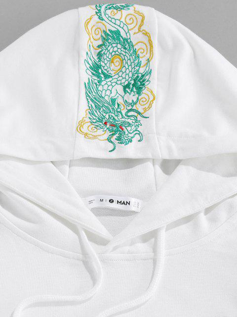 shops ZAFUL Kangaroo Pocket Dragon Embroidered Oriental Hoodie - WHITE 2XL Mobile