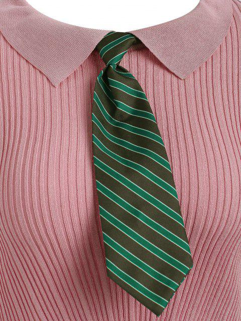 best Cropped Ribbed Striped Tie Knitwear - LIGHT PINK ONE SIZE Mobile