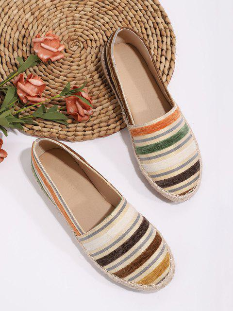 online Colorful Striped Espadrilles Loafer Flat Shoes - MULTI-A EU 41 Mobile