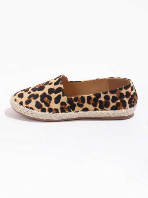 shop Leopard Pattern Slip On Flat Shoes - MULTI-A EU 41 Mobile