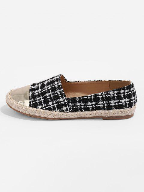 Metallic Toe Tweed Espadrilles Loafer Flat Shoes - أسود الاتحاد الأوروبي 41 Mobile