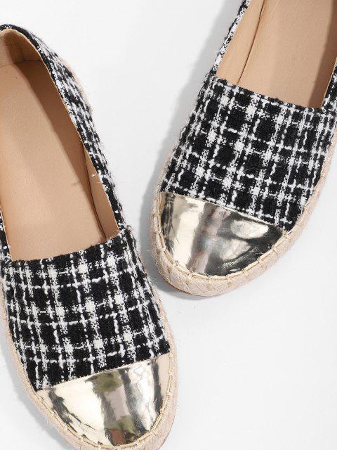 chic Metallic Toe Tweed Espadrilles Loafer Flat Shoes - BLACK EU 41 Mobile
