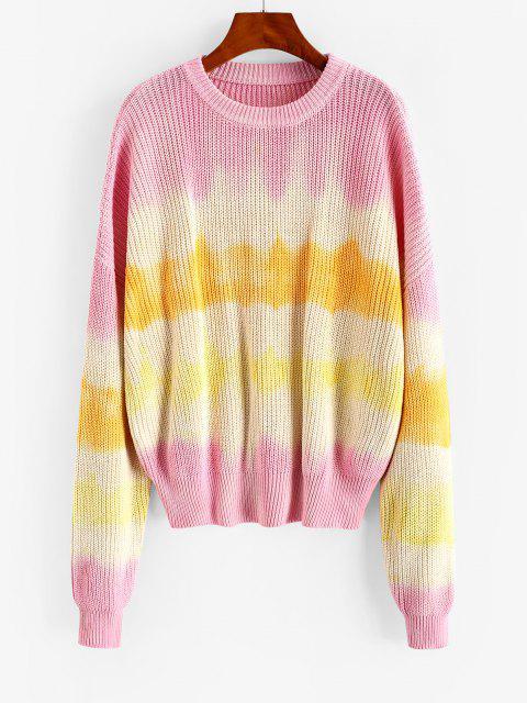 クルーネックタイダイ大きいサイズセーター - ライトピンク M Mobile