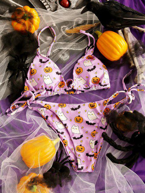 sale ZAFUL Halloween Ribbed Bat Pumpkin String Bikini Swimwear - LIGHT PURPLE S Mobile