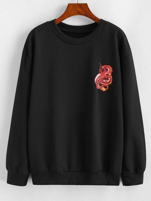 Dragon Pattern Oriental Basic Sweatshirt - أسود S Mobile