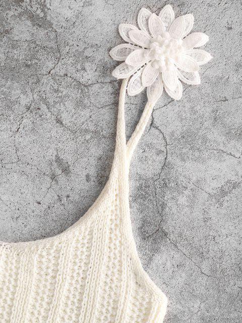 fancy Applique Flower Crochet Crop Beach Tank Top - WHITE L Mobile
