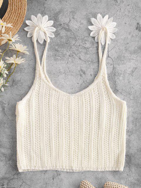Regata Barriga de Fora de Crochê com Aplicação Floral Cortado - Branco XL Mobile