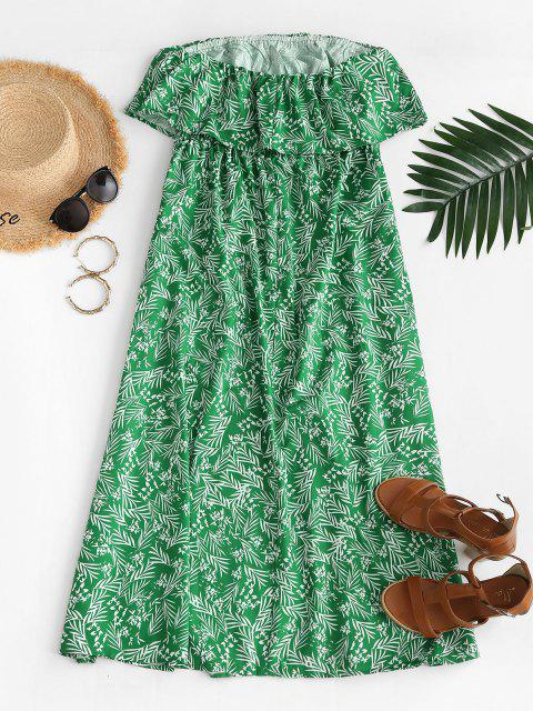 lady Leaf Print Flounce Slit Strapless Maxi Dress - GREEN S Mobile