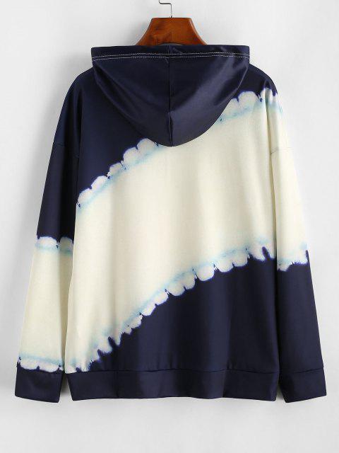 Dip Dye Kangaroo Pocket Drawstring Hoodie - الأبيض الدافئ S Mobile