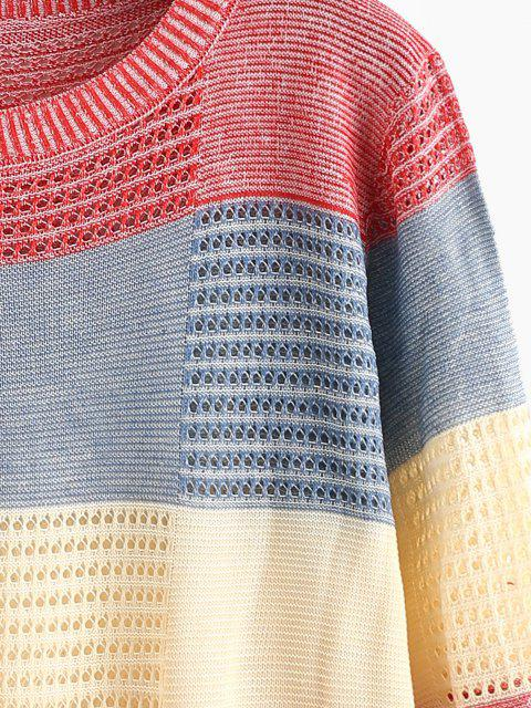 Maglione Trasparente a Blocchi di Colore - Rosso Taglia unica Mobile