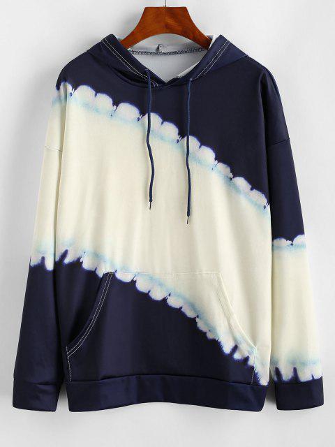 chic Dip Dye Kangaroo Pocket Drawstring Hoodie - WARM WHITE M Mobile