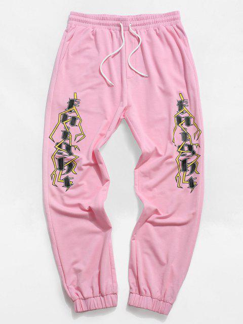 ZAFUL Pantalones Deportivos con Estampado Geométrico de Letras - Rosa claro 2XL Mobile