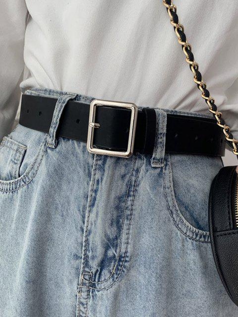 hot Square Pin Buckle Waist Belt - BLACK  Mobile