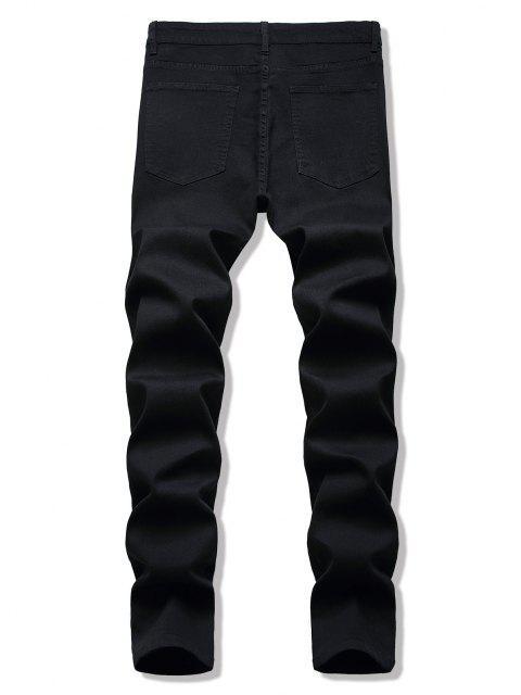 womens Dark Wash Ripped Skinny Jeans - BLACK 36 Mobile