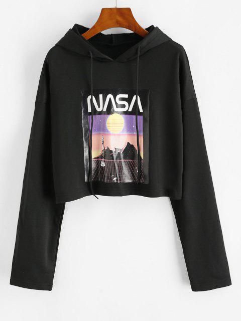 French Terry Drop Shoulder Spaceflight Patterned Hoodie - أسود L Mobile