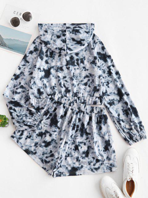 new Tie Dye Hooded Bowknot Pocket Shorts Set - BLACK S Mobile
