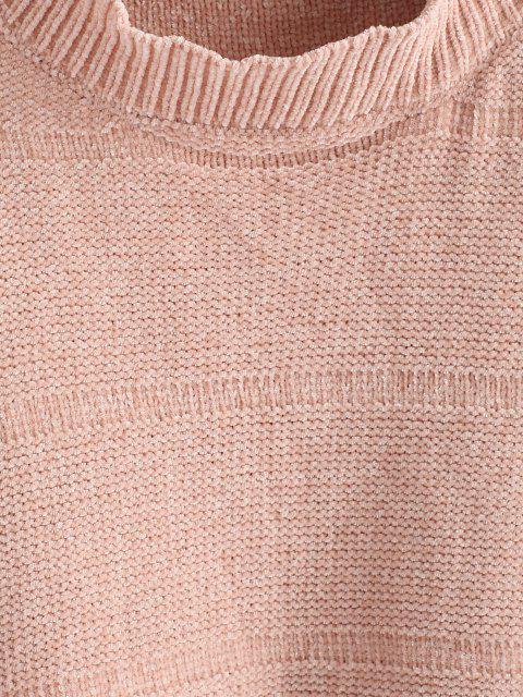 Gepunktete Bubble Chenille Tropfen Schulter Pullover - Hell-Pink Eine Größe Mobile