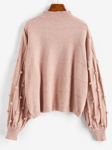 women's Dotted Bubble Pompom Chenille Drop Shoulder Sweater - LIGHT PINK ONE SIZE Mobile