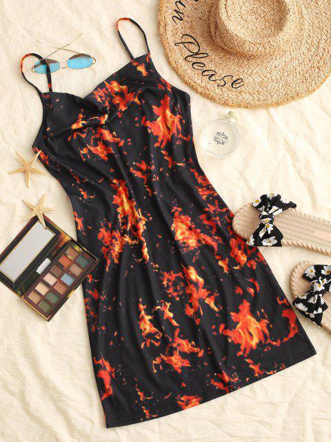 Flammen Druck Ärmelloses Bodycon Camisole Kleid mit Kapuze - Orange M Mobile
