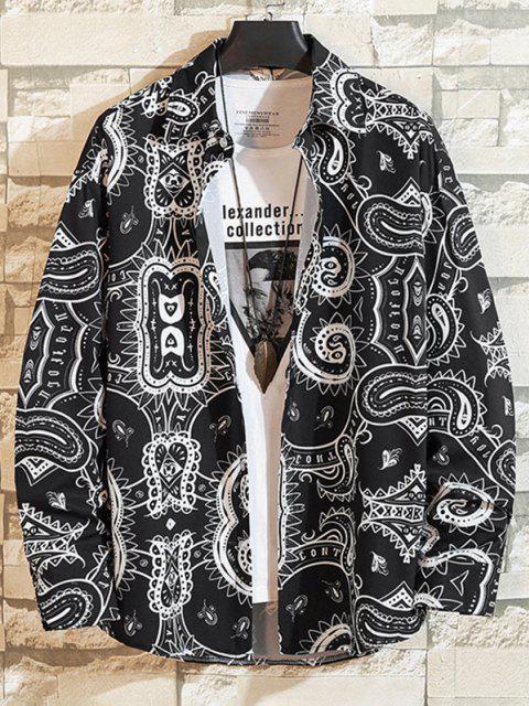 chic Tribal Patten Paisley Long Sleeve Shirt - BLACK 2XL Mobile