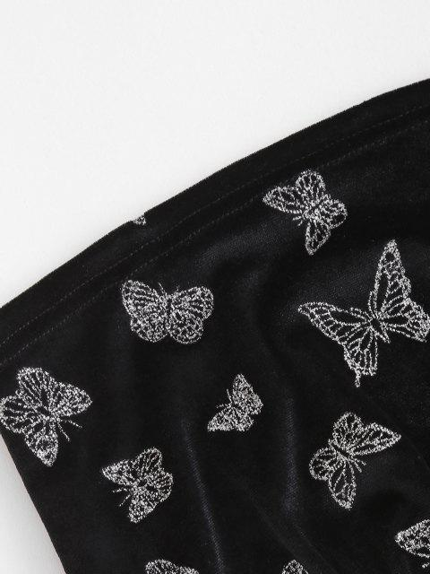 fancy Glitter Butterfly Velvet Tube Top and Pull On Pants Set - BLACK S Mobile