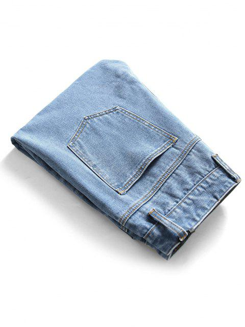 fashion Frayed Cut Out Tapered Jeans - BLUE 38 Mobile