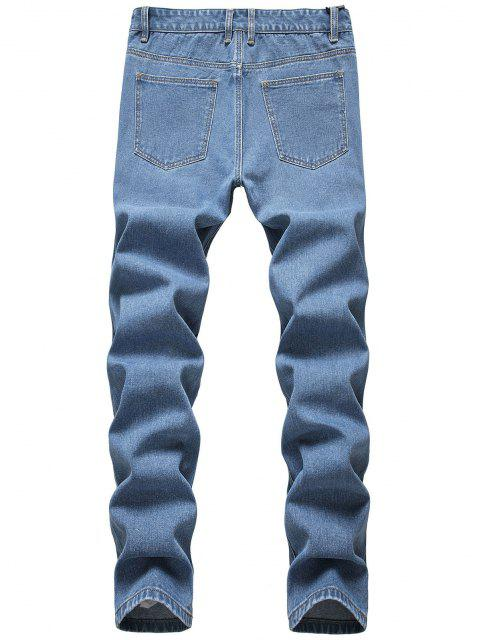 chic Frayed Cut Out Tapered Jeans - BLUE 34 Mobile