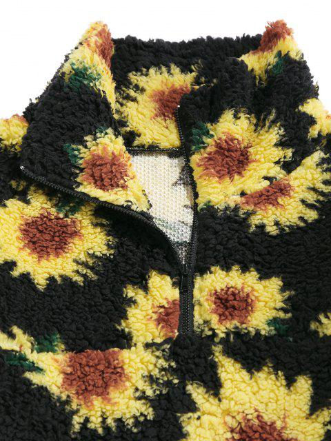 ladies ZAFUL Sunflower Pattern Faux Fur Fluffy Jacket - BLACK M Mobile