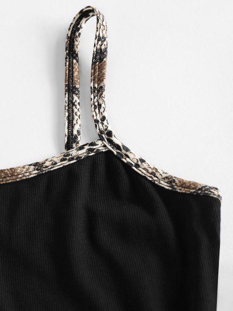 ZAFUL Geripptes Strickkleid mit Schlitz und Schlangenmuster - Schwarz M Mobile