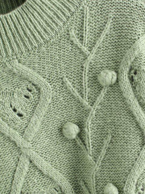 Stehkragen Gepunktete Rüschen Pullover - Hellgrün Eine Größe Mobile