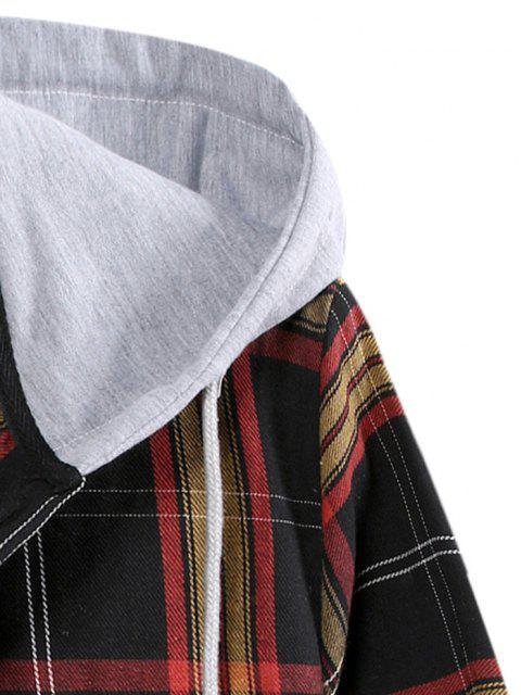 Colorblockタータンチェックフード付きボタンアップシャツを印刷 - ブラック 2XL Mobile