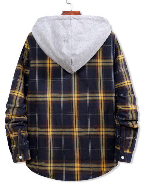 Camicia a Quadretti a Blocchi di Colore con Cappuccio e Bottoni - Blu Scura Denim  M Mobile
