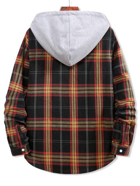 buy Colorblock Plaid Print Hooded Button Up Shirt - BLACK M Mobile