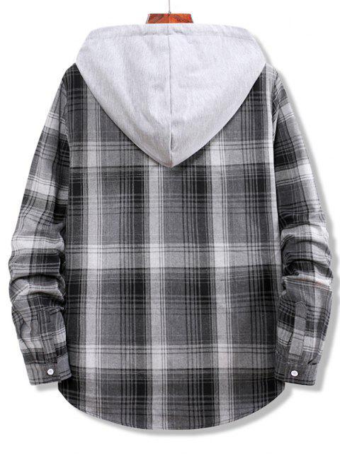 shop Colorblock Striped Plaid Pattern Button Up Shirt - SMOKEY GRAY XL Mobile