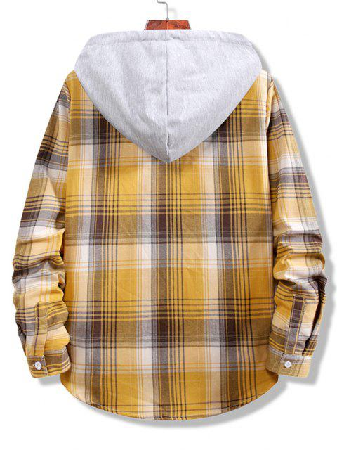 best Colorblock Striped Plaid Pattern Button Up Shirt - GOLDEN BROWN L Mobile