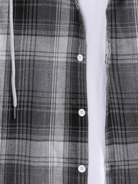fashion Colorblock Striped Plaid Pattern Button Up Shirt - SMOKEY GRAY M Mobile