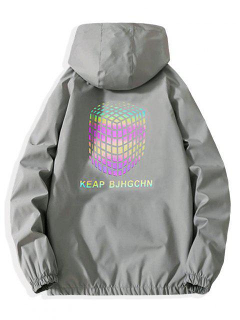 Veste à Capuche Zippée Géométrique Réfléchissante Imprimée - Gris Clair S Mobile