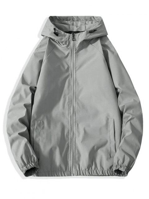 Zip Up Reflective Geometric Graphic Print Hooded Jacket - رمادي فاتح XS Mobile