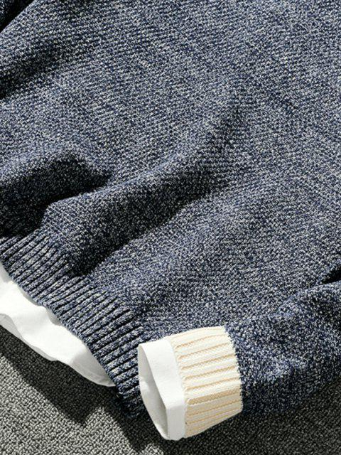 shop Crew Neck Contrast Pullover Sweater - DEEP BLUE XS Mobile