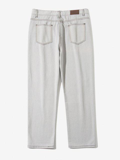 hot Acid Wash Ripped Tapered Pants - CRYSTAL CREAM S Mobile