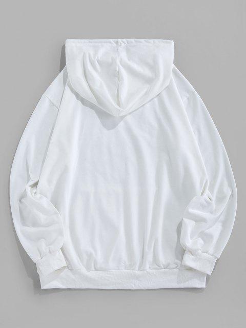 ZAFUL Leuchtende Karikaturdruck Känguru Taschen Hoodie - Weiß S Mobile